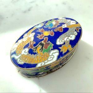 Mini trinket metal enamel oval box